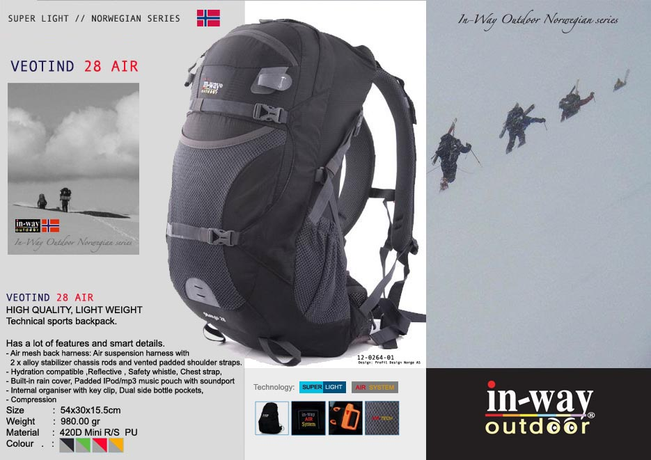In-Way Veotind 28 ultra light tech backpack kopi